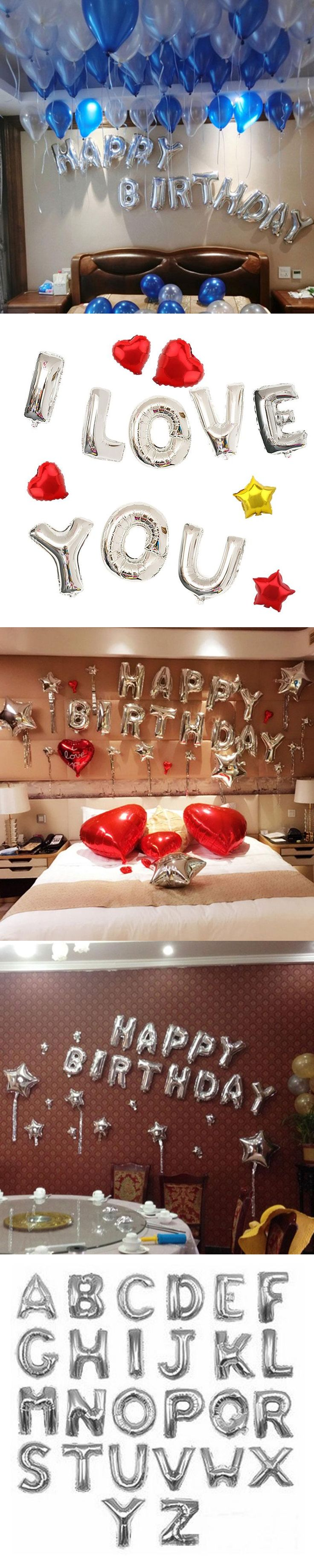 16 inch Silver A--Z Optional Letter Balloon Aluminum Foil Helium Balloons Birthday Wedding Party Decoration Celebration Supplies
