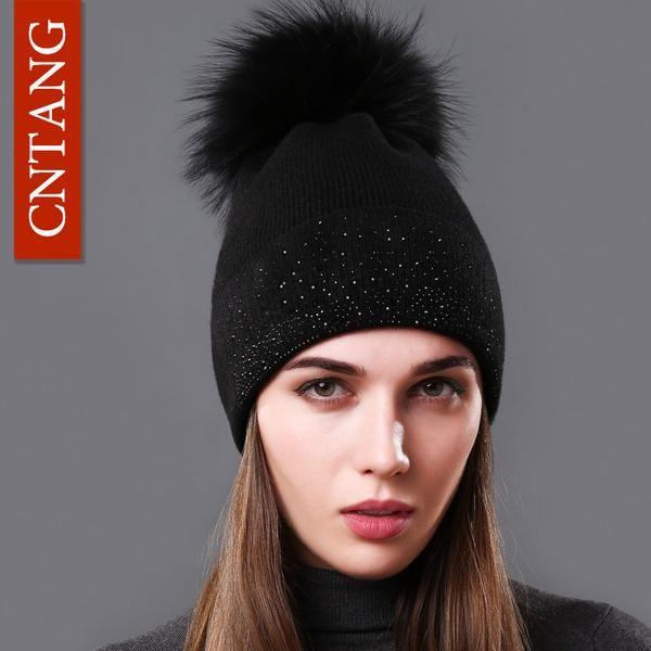 30048daca1e CNTANG Brand Winter Fashion Women Hats 100% Raccoon Fur Beanie Female Warm  Pompom Cap Decorated