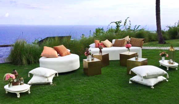Teak chaise, round ottoman and brass cubes | Villa Khayangan | Flowers, Bloomz | Bali Ultimate Furniture Rental