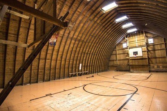 Barn basketball a full court in the upper loft