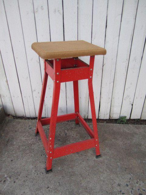 Vintage orange metal stool. & 215 best Home: Stools images on Pinterest | Counter stools Stools ... islam-shia.org