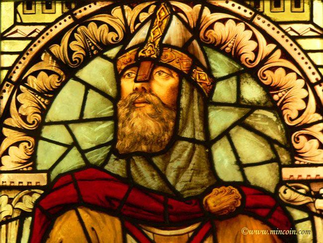 Détail du vitrail à l'effigie de Godefroy de Bouillon
