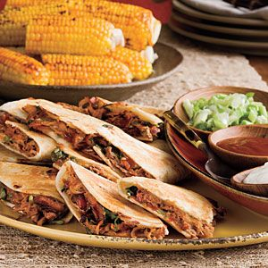 HAPPY CINCO DE MAYO RECIPES ... Barbecued Pork Quesadillas Recipes ~ INGREDIENTS: Chopped barbecued pork  - Barbecue sauce  - Fresh cilantro  - Green onions - Fajita-size flour tortillas  - Shredded Mexican four-cheese blend ~ Toppings: Sour cream, Green onions, Barbecue sauce