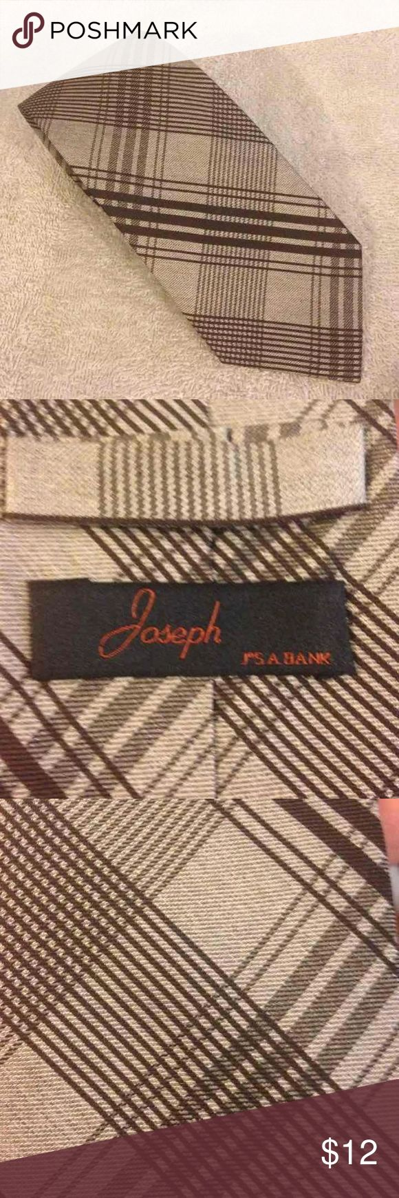 Jos A Bank NEW Brown & Tan Plaid Tie Joseph By Jos A Bank Tan and Brown Plaid Silk Necktie! NEW WITHOUT TAGS! Please make reasonable offers and bundle! Jos. A. Bank Accessories Ties
