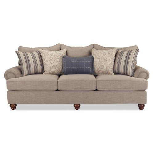 Craftmaster Carla Traditional Sofa with Exposed Wood Feet