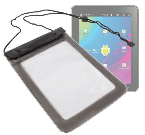 DURAGADGET Black Transparent Waterproof Secure Tab Slide In Carry Bag With Neck Strap For Lexibook 8-inch Kids Tablet Advance 2 – Plastic