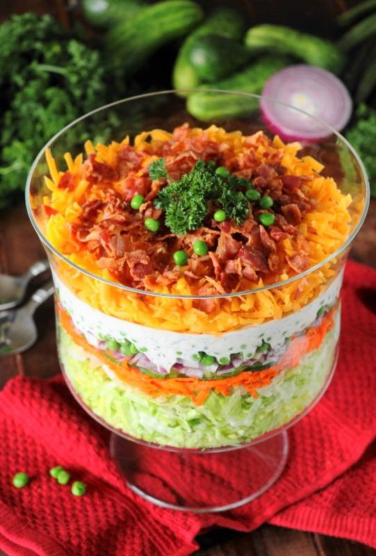 Mommy's Kitchen - Recipes From my Texas Kitchen: Make Ahead Layered Salad at Weekend Potluck #276