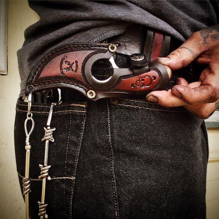 horizontal leather belt knife sheath with barbwire chain