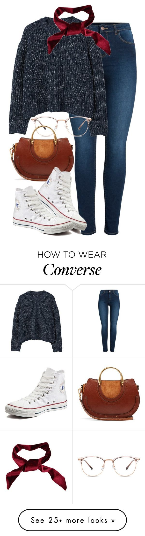 """""""Chloe x Converse"""" by muddychip-797 on Polyvore featuring Pieces, MANGO, Chloé, Converse, casual, converse, chloe, brunch and fashionset"""