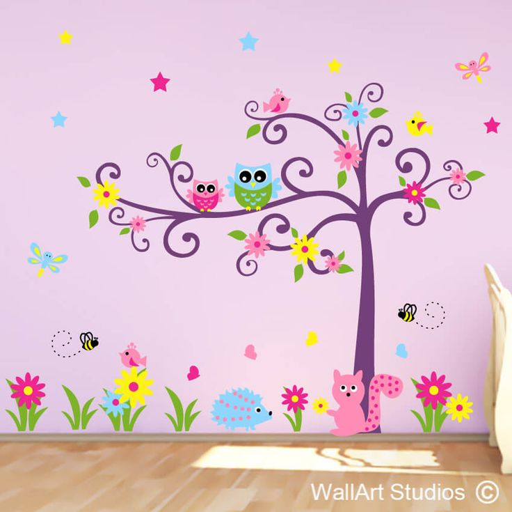 Swirly Tree Owls Hedgehog Squirrel & Bugs Custom made high quality wall decals, shipping worldwide! You choose you ropwn colors & sizes to fit in with your decor! www.wallarstudios.com