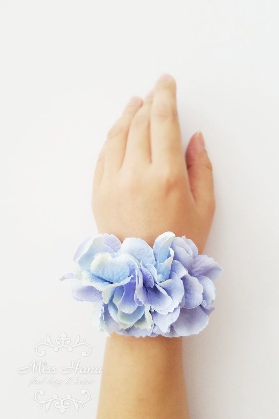 Blue Hydrangea Corsage Bridesmaid corsage by MissHanaFloralDesign