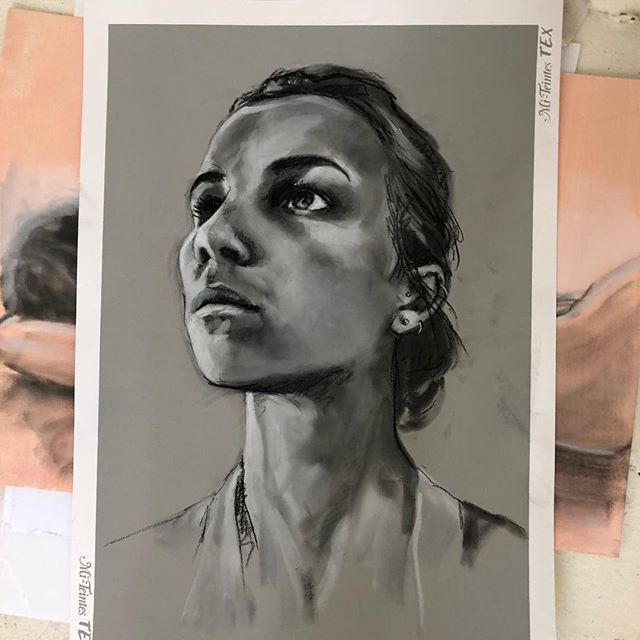 One of those days when you just cannot wrestle the drawing into submission. Setting it aside to return to later. Playing heavy rock breathing deeply. Onwards and upwards. #drawing#portrait#selfportrait#panpastel#blackandwhite#draw