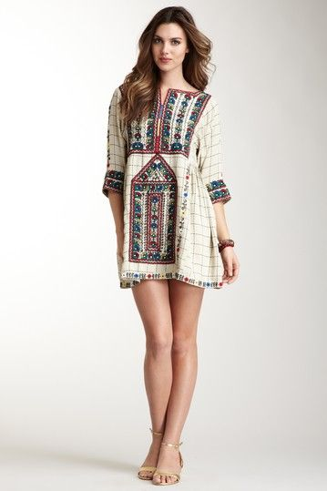Gaskell Emroidered Dress. bohemian details. clean modern lines. Cute with jeans as a big airy blouse.