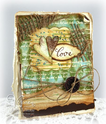 Mixed-media card using distress stains, sprays and corrugated paper.