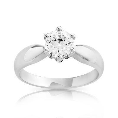 Pour de vrai - Bague solitaire or 750 blanc diamant 1 carat - Maty