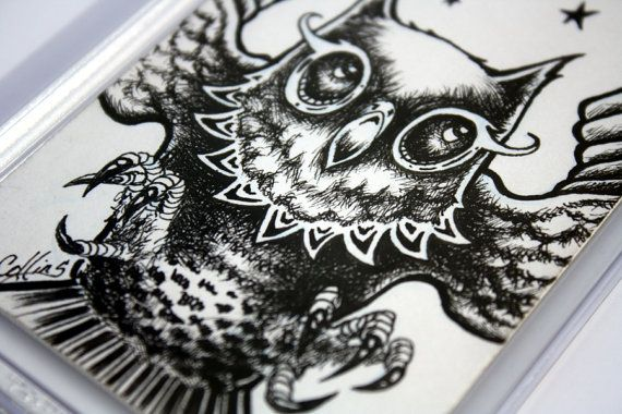 Bryan Collins Miniature Owl ACEO original pen and ink drawing