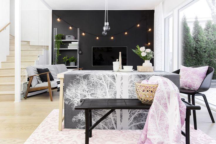 Saarni coated fabric and cushion and Vihkivala rug by Tanja Orsjoki, Ajaton table ware by Vallila Design Studio, Kauhava rug by Matleena Issakainen, Hip Hop cushion