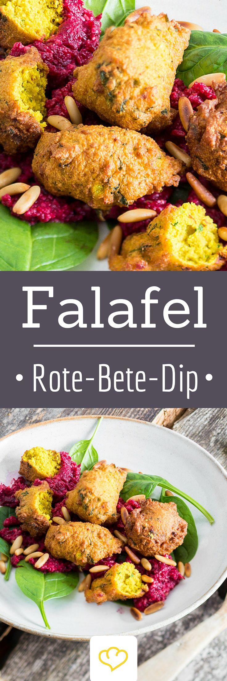 Street Food Deluxe: Blumenkohl-Falafel auf Rote-Bete-Dip.