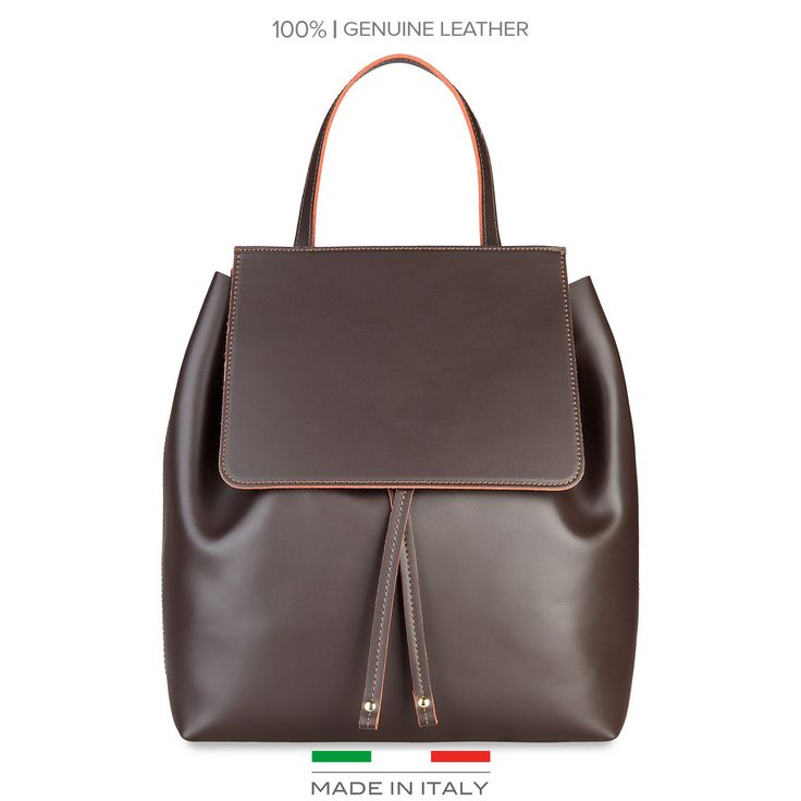 Brown leather backpack Made in Italia - CARMEN