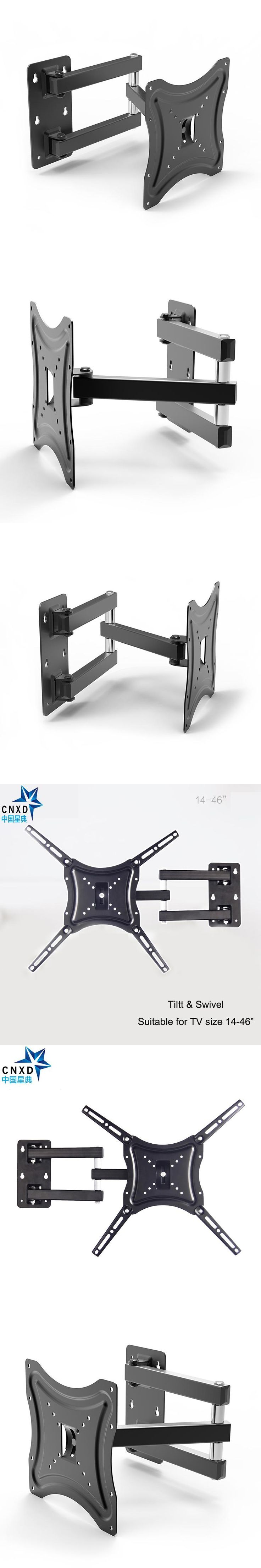 """Retractable Full Motion TV Wall Mount Bracket Wall Stand Adjustable Mount Arm Fit for Plasma Flat LED TV 14""""-46"""" Support 25KG"""