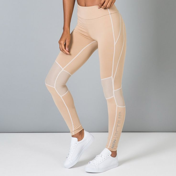Mesh Panel Legging - Beige