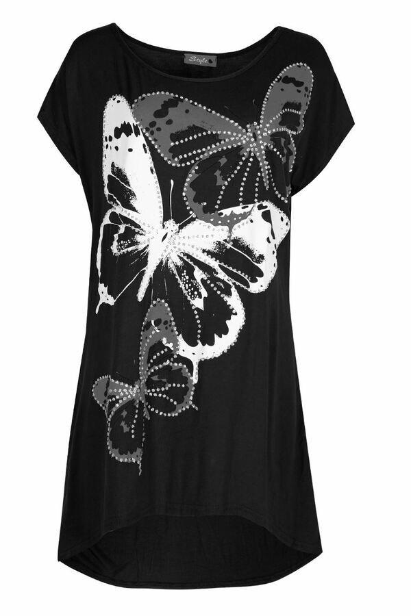 Womens Cold Cut Shoulder Floral Print Oversize Ladies Short Sleeve Hanky Hem Top