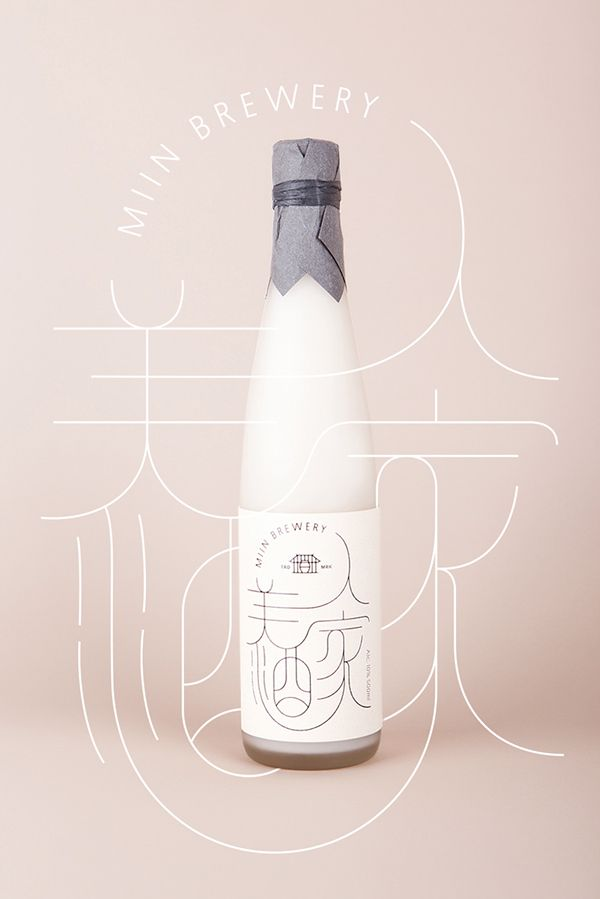 "Miin is a Korean traditional rice wine brewed at Paju. The label design was inspired by old maps from the Joseon Dynasty that incorporated Chinese characters. ""Miin"" means beautiful woman in Korean therefore the Seoul design agency ContentFromContext created sophisticated curved lines to make it more feminine."