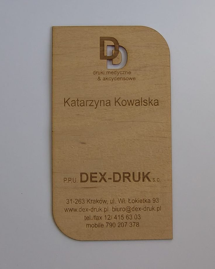 Dex Druk Wood Business Cards are an elegant and classy way to introduce yourself to others. ALDER: info@dex-druk.pl