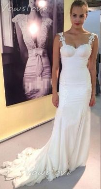 Trumpet Ivory Sleeveless Lace Strap Sweetheart Wedding Dress with Open Back