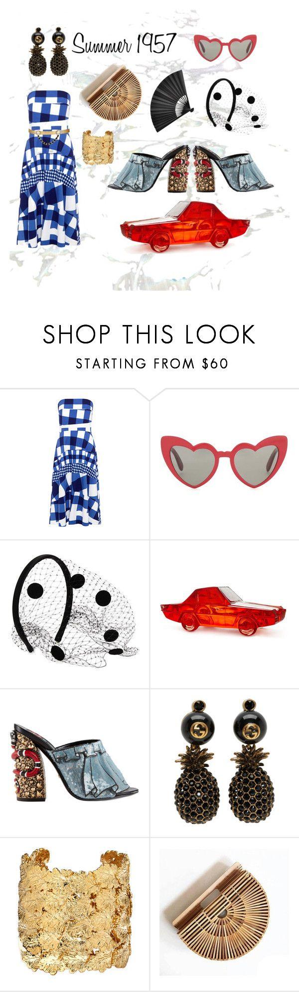 """Summer Trend: Gingham Look 3"" by eliebanks on Polyvore featuring Être Cécile, Yves Saint Laurent, Valentino, Jonathan Adler, Gucci, Aurélie Bidermann and Maison Mayle"