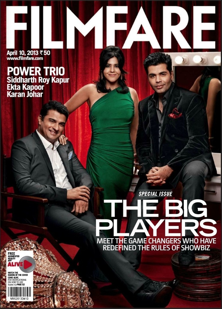 Karan Johar, Ekta Kapoor and Siddharth Roy Kapur on Filmfare Magazine April 2013.