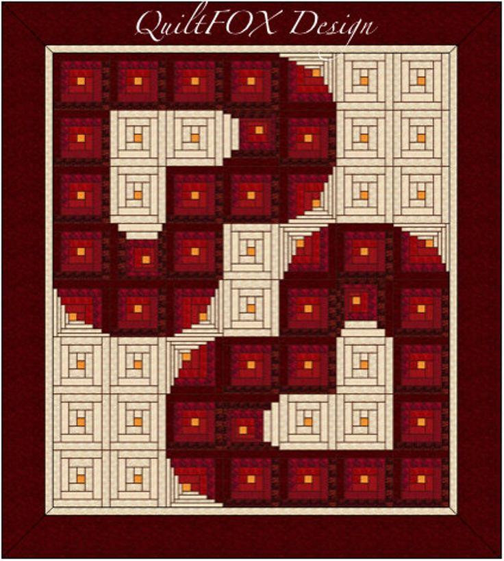 Wedding Quilt Pattern – Log Cabin / Wedding / Valentine / Heart – Queen: 93″x103″