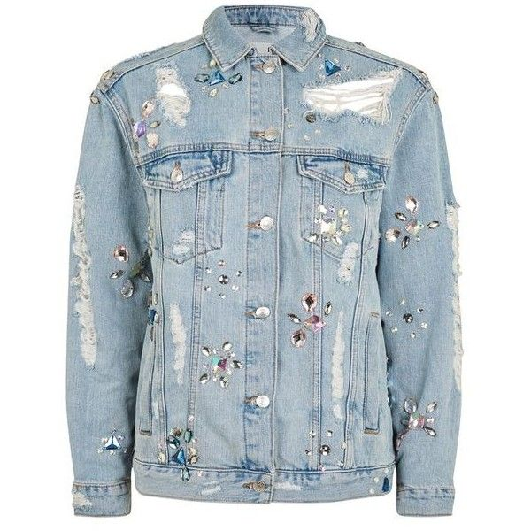 Topshop Moto Crystal Embellished Denim Jacket (616630 PYG) ❤ liked on Polyvore featuring outerwear, jackets, denim, topshop, jean jacket, blue jean jacket, topshop jackets, distressed jean jacket and oversized jean jacket