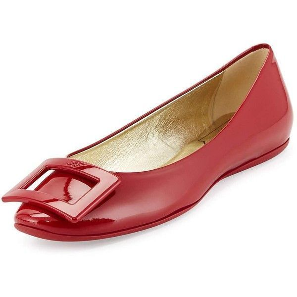 Roger Vivier Gommette Patent Ballerine Flat ($550) ❤ liked on Polyvore featuring shoes, flats, dark ruby, slip-on shoes, slip on shoes, flat heel shoes, flat shoes and buckle flats #rogervivierflats