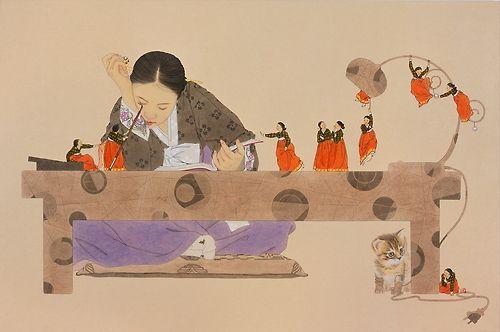 by Shin Sunmi  당신이 잠든사이8, 77x116cm, 장지에 채색, 2008