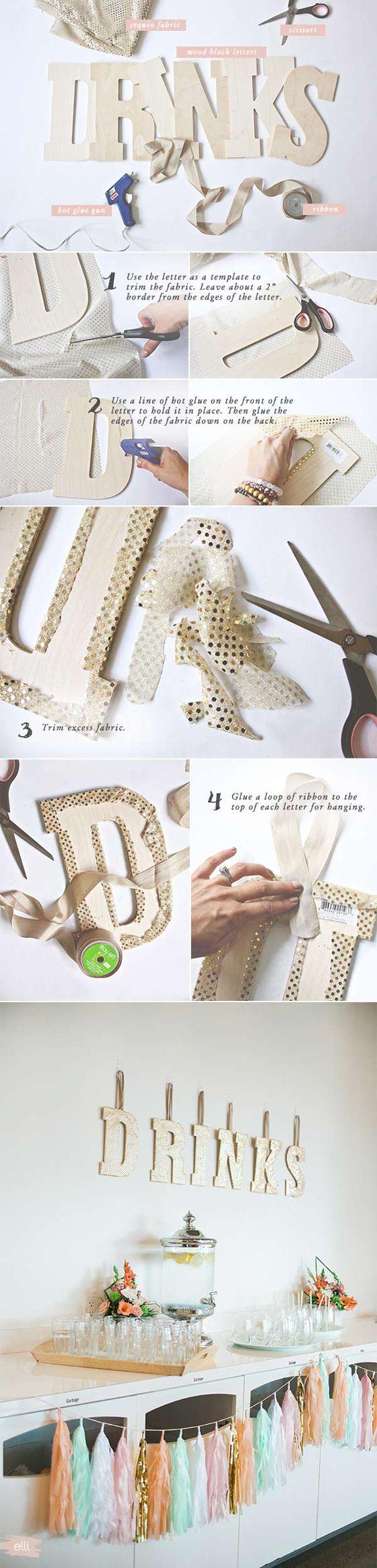 DIY Sequin Drink Sign for Wedding or Bridal Shower