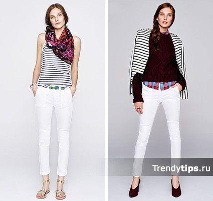 С чем носить узкие белые джинсы?