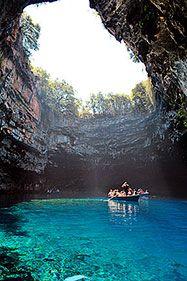 Melissani lake in Cephalonia, amazing colours. #cave #kefalonia #greece