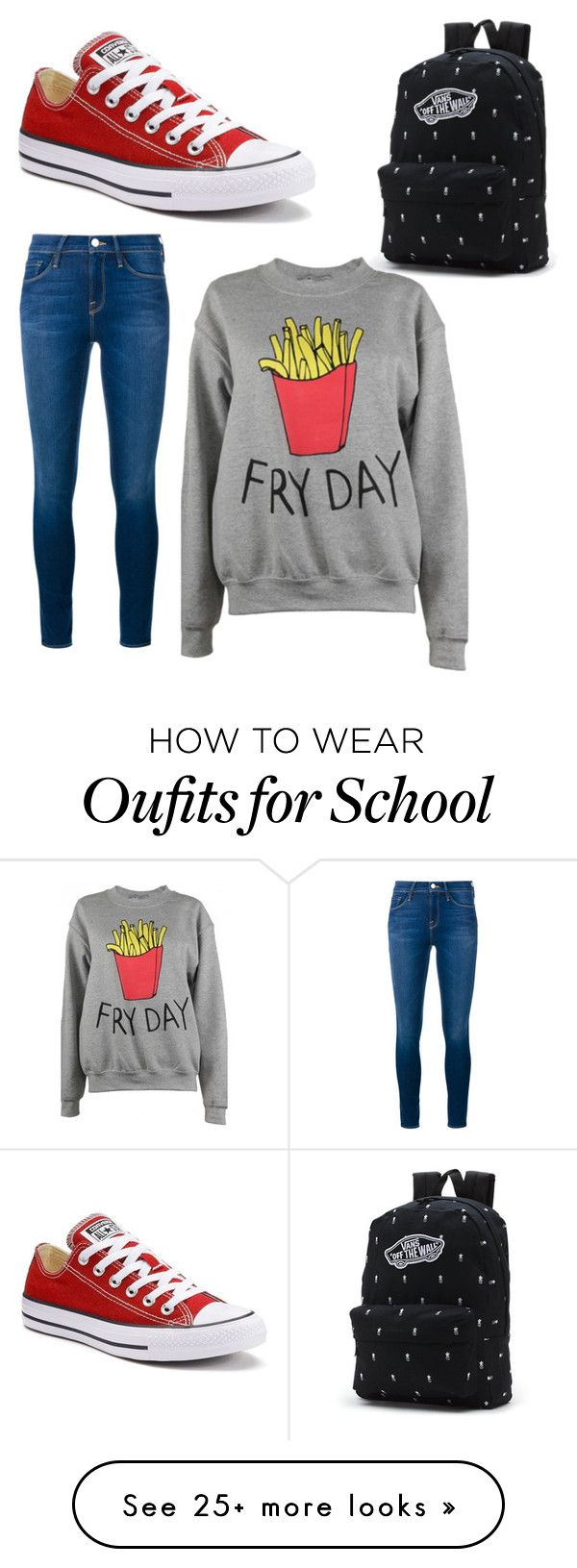 """school"" by rebecayuso on Polyvore featuring Frame Denim, Adolescent Clothing, Converse and Vans"