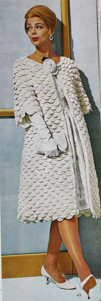They call it shell, we call it crocodile.  No matter what you name it, the style has been around awhile.  Mad Men Vintage PDF CROCHET PATTERN Womens Stylish Swing Coat 1960s in shell stitch.
