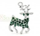 "Silver Plated Green Rhinestone Christmas Reindeer Charms Pendants 32x20mm(1-1/4""x3/4""), sold per packet of 10.The reindeer is carring the Santa Claus to give out gifts!!!$5.15"