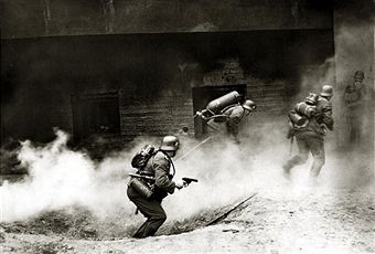 1940, German soldiers using flame throwers against a French bunker on the Maginot Line, Germany's victory in France in 1940 followed the 'Phoney War, (September 1939-April 1940) and the German breakthrough accomplished at great speed meant France was forced to surrender in June 1940 - pin by Paolo Marzioli