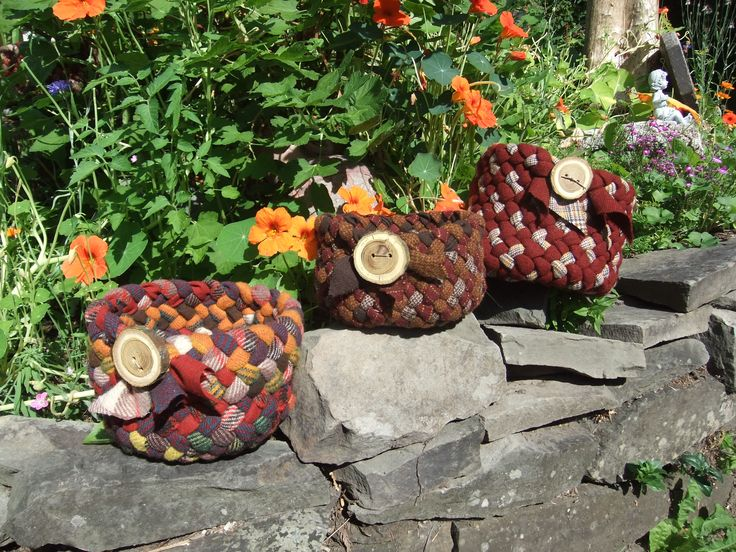 hand braided baskets by Val Galvin, Renditions in rags using recycled/reclaimed wool.