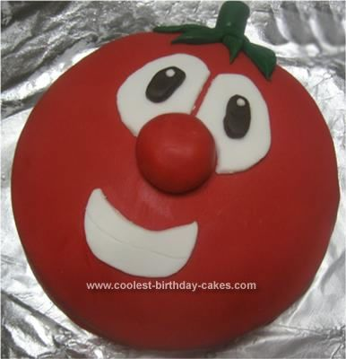 Homemade Bob the Tomato Cake: My second son has become a Bob fan every since we took our boys to see Veggie Tales live on stage. So when his second birthday rolled around he kept saying