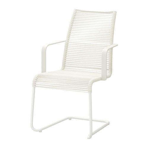 IKEA - VÄSMAN, Chair with armrests, outdoor, white,  , , The materials in this outdoor furniture require no maintenance.Easy to keep clean – just wipe with a damp cloth.The chair is pleasantly resilient, ensuring that you sit comfortably.Can be stacked, which helps you save space.