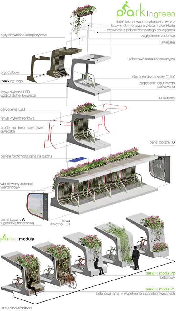 Modular green bike rack by Mala Architektura. Click image for full profile and visit the slowottawa.ca boards >> http://www.pinterest.com/slowottawa