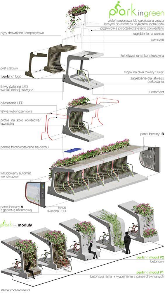 Bicicletário e Banco. Projeto Conceitual. Menthol Architects'. Varsóvia, Polônia. 2011.
