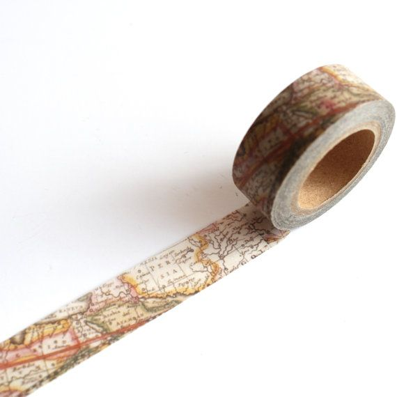 Vintage map washi tape.  Perfect for any crafting project or gift wrap  Photographed in natural daylight though colours can differ on different
