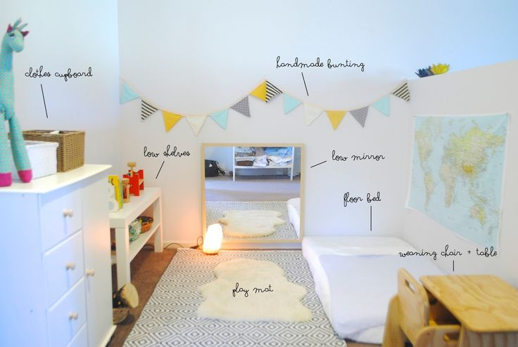 Sweet, soft, totally my style of a gentle nursery. Great example of a small space, too! Beau's Montessori Room 8 Months from Belle + Beau