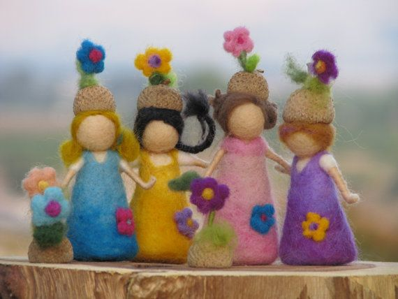 Waldorf inspired Needle felted little acorn friends.